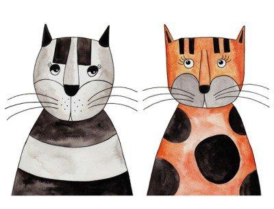 Kissat. taidetta, mustetta ja vesivärejä paperilla Seinätarra