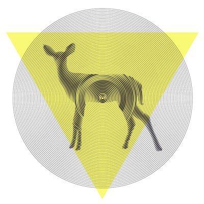Vektori peuroja tiangle ja ympyrä Seinätarra