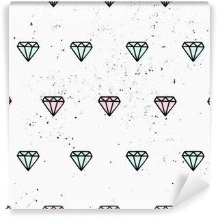 Selbstklebende Fototapete Hand gezeichnet Diamanten nahtlose Muster