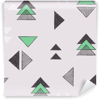 Selbstklebende Fototapete Nahtlose Hand gezeichnete Dreiecke Muster.