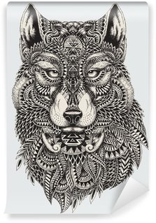Selbstklebende Fototapete Sehr detaillierte abstrakte Wolf illustration