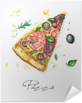 Selbstklebendes Poster Aquarell Lebensmittel Malerei - Pizza