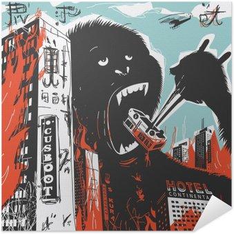 Selbstklebendes Poster Big Gorilla zerstört Stadt