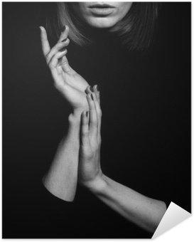 Selbstklebendes Poster Femme fatale Konzept. Alte klassische Filme Schauspielerin Stil.