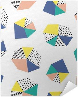 Selbstklebendes Poster Hand gezeichnet nahtlose Muster mit Pinselstrichen und geometrische Figur.