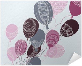 Selbstklebendes Poster Illustration mit bunten Luftballons fliegen