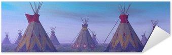 Selbstklebendes Poster Indian Camp an der Dämmerung