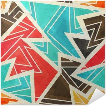 Selbstklebendes Poster Jugend geometrische nahtlose Muster mit Grunge-Effekt