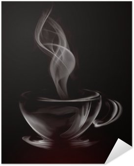 Selbstklebendes Poster Künstlerische Illustration Smoke Cup Of Coffee on black