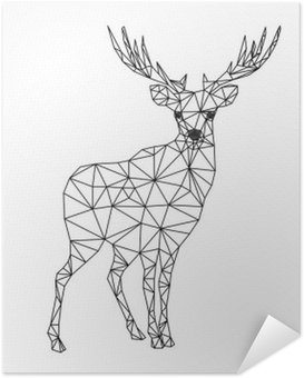 Selbstklebendes Poster Low-Poly-Charakter der Hirsche. Entwürfe für Weihnachten. Weihnachten Illustration im Einklang Kunststil. Isoliert auf weißem Hintergrund.
