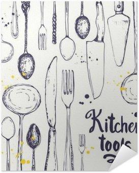 Selbstklebendes Poster Nahtlose Hintergrund mit Essgeschirr. Menü-Muster.