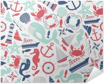 Selbstklebendes Poster Nahtlose Muster mit Meer Symbole