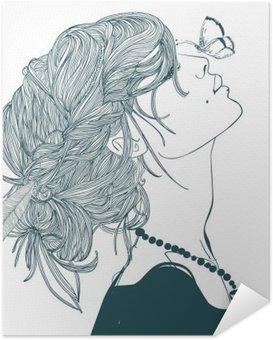 Selbstklebendes Poster Profil der schönen Frau mit Schmetterling