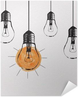 Selbstklebendes Poster Vector Grunge Illustration mit Glühbirnen und Platz für Text hängen. Moderne Hipster Skizze Stil. Einzigartige Idee und kreatives Denken Konzept.