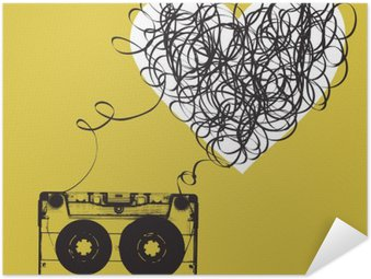 Audiocassette with tangled tape. Haert shaped Self-Adhesive Poster