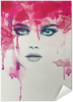 Self-Adhesive Poster Beautiful woman. watercolor illustration