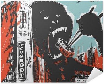 Self-Adhesive Poster Big Gorilla destroys City