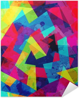 bright geometric seamless pattern with grunge effect Self-Adhesive Poster