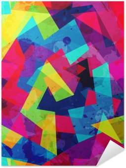 Self-Adhesive Poster bright geometric seamless pattern with grunge effect