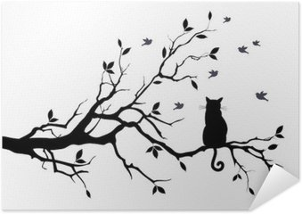 cat on a tree with birds, vector Self-Adhesive Poster