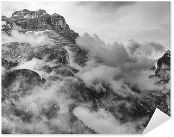 Self-Adhesive Poster Dolomites Mountains Black and White