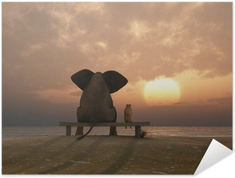 elephant and dog sit on a summer beach Self-Adhesive Poster