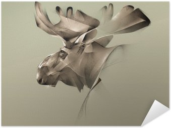 elk portrait vintage graphics Self-Adhesive Poster