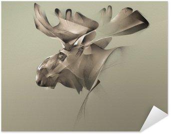 Self-Adhesive Poster elk portrait vintage graphics