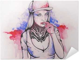 Self-Adhesive Poster girl in a cap and tattoos