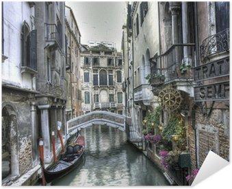 Self-Adhesive Poster Gondel, Palazzi und Bruecke, Venedig, Italien
