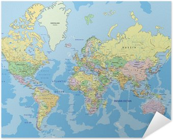 Self-Adhesive Poster Highly detailed political World map with labeling.