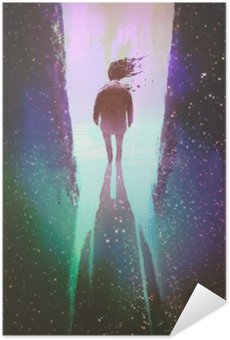 man walking out from a dark space into light,illustration painting Self-Adhesive Poster