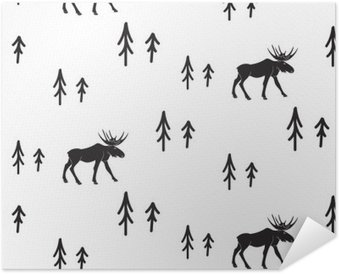 Scandinavian simple style black and white deer seamless pattern. Deers and pines monochrome silhouette pattern. Self-Adhesive Poster