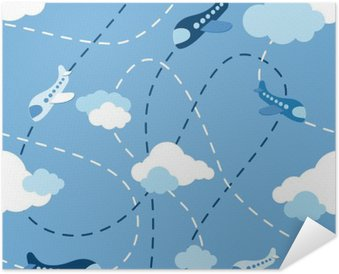 Seamless airplane pattern Self-Adhesive Poster