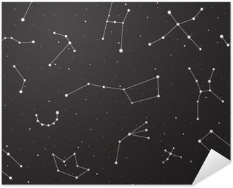 Starry night, seamless pattern, background with stars and constellations, vector illustration Self-Adhesive Poster