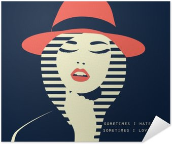 stylized sexy woman with hut Self-Adhesive Poster