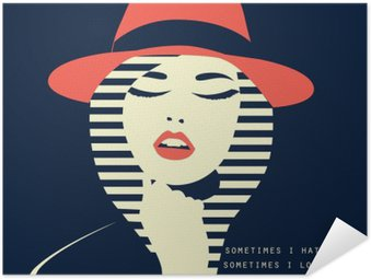 Self-Adhesive Poster stylized sexy woman with hut