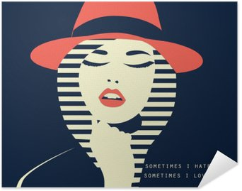 stylized sexy woman with hut Self-Adhesive Poster