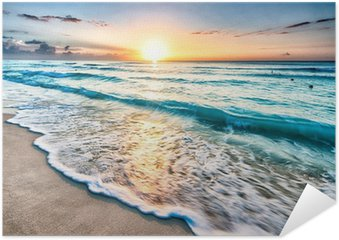 Sunrise over beach in Cancun Self-Adhesive Poster