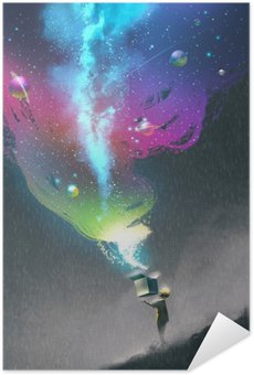 the kid opening a fantasy box with colorful light and fantastic space,illustration painting Self-Adhesive Poster