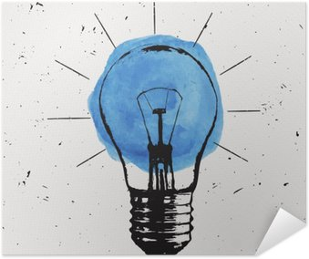 Vector grunge illustration with light bulb. Modern hipster sketch style. Idea and creative thinking concept. Self-Adhesive Poster