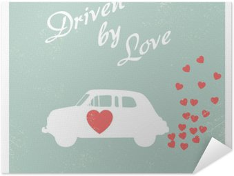 Self-Adhesive Poster Vintage car driven by love romantic postcard design for Valentine card.