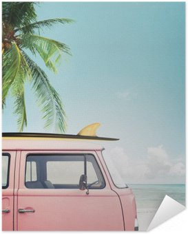 Vintage car parked on the tropical beach (seaside) with a surfboard on the roof Self-Adhesive Poster