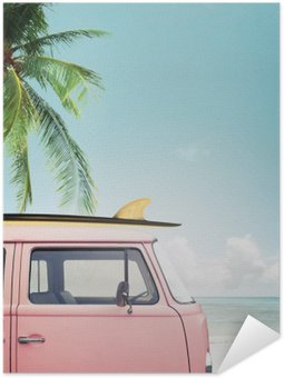 Self-Adhesive Poster Vintage car parked on the tropical beach (seaside) with a surfboard on the roof
