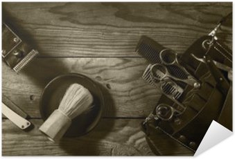 Vintage set of Barbershop.Toning sepia Self-Adhesive Poster