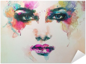 Self-Adhesive Poster woman portrait .abstract watercolor .fashion background