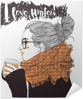 young beautiful woman with coffee cup Self-Adhesive Poster