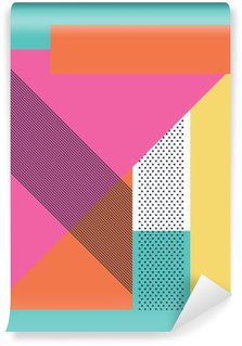 Self-Adhesive Wall Mural Abstract retro 80s background with geometric shapes and pattern. Material design wallpaper.