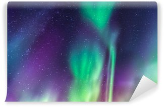 Aurora Borealis on a starry sky Self-Adhesive Wall Mural
