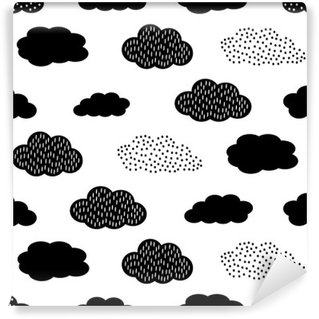 Self-Adhesive Wall Mural Black and white seamless pattern with clouds. Cute baby shower vector background. Child drawing style illustration.